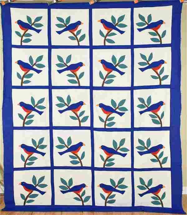 Folky 30's Birds Applique Quilt Top