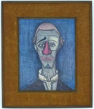 Framed Copy of a Clown of Mime by Bernard Buffet