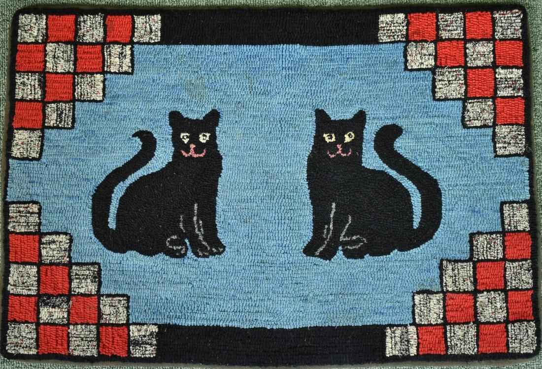 Folky 30's Black Cat Hooked Rug