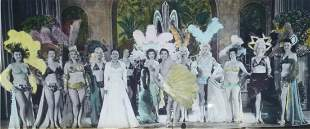 Burlesque, can-can, fan dancers hand-painted photo