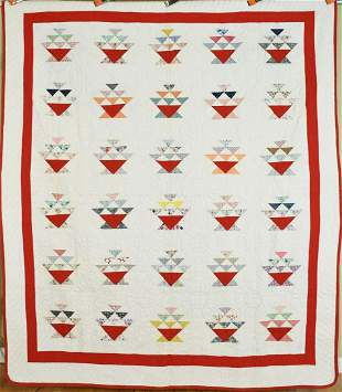 30's Cake Stand Baskets Quilt, Nice Red