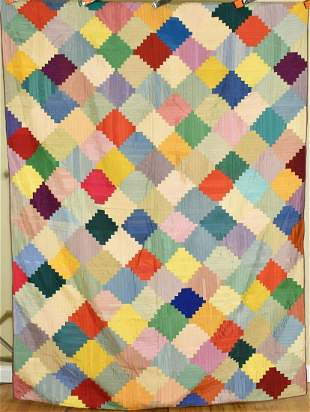 """Colorful 40's """"Courthouse Steps"""" Log Cabin Quilt"""