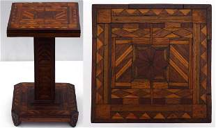 A very intricate small marquetry pedestal stand