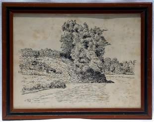 Pen and Ink outdoor scene by Robert E. Gilbert