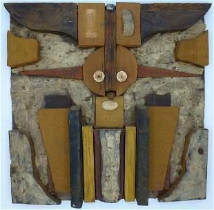 Folk Art sculptural face (alien?) from found objects
