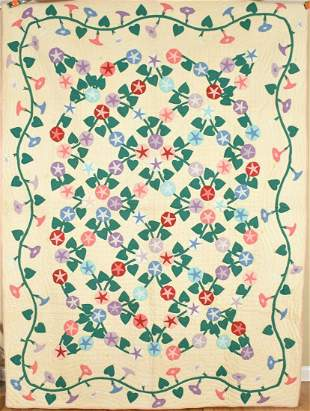 40's Morning Glory Applique Quilt
