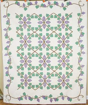 """Well Quilted Grapevine Applique Quilt dated """"1940"""""""