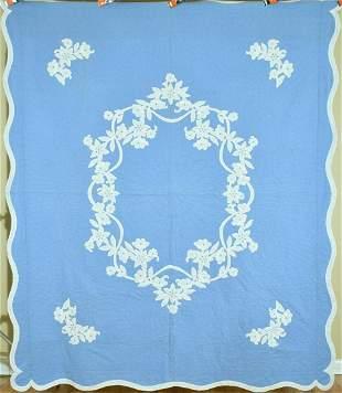 40's Blue & White Wedgewood Applique Quilt