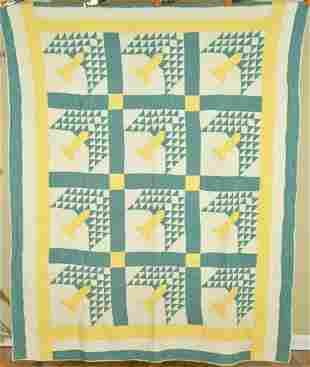 30's Yellow & Green Tree of Life Quilt