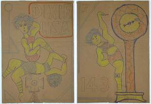 Dixie USA 2-sided Drawing. Brown Paper Bag by Lewis