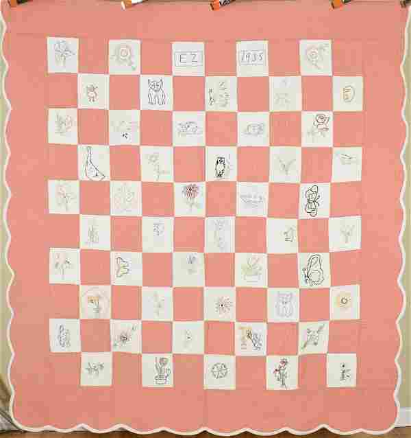 """Well Quilted """"Penny Quilt"""" Dated """"1935"""""""