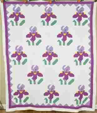 30's Iris Quilt, Sawtooth Border