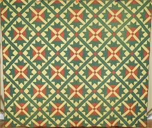 Large 1860's Goose Tracks Quilt