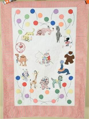 30's Circus Animal Applique Crib Quilt