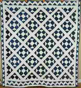 1870's Indigo Blue & White Shoofly Quilt