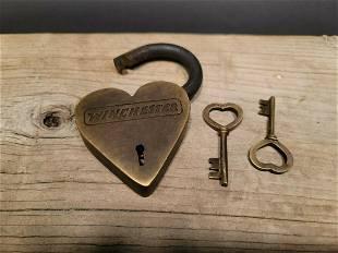 Brass Heart Winchester Firearms Ammo Box Padlock Lock