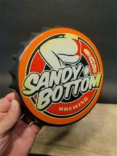 Sandy Bottom Brewing Bottle Cap Shape Sign