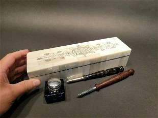 Scrimshaw Inkwell w Dip Pens Writing Set