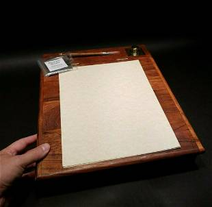 Wood Colonial Folding Lap Writing Slope Desk Inkwell