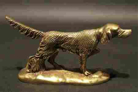 Brass Pointer Hunting Dog Paperweight Desk Statue