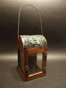 Wood Punched Tin Glass Lantern Lamp Candle Holder