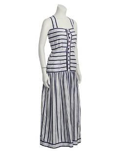 Adele Simpson White and Navy Cotton Maxi Dress