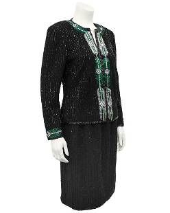 Adolfo Black Knit Evening Suit with Art Deco Inspired