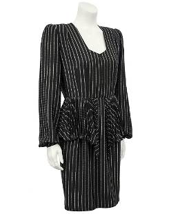 Andre Laug Andre Laug Black Silk Pinstriped Day Dress