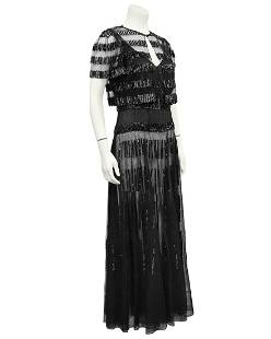 Anonymous Anonymous Black Sheer and Sequin Gown