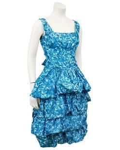 Anonymous Anonymous Blue Silk Taffeta Cocktail Dress