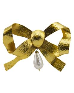 Anonymous Anonymous Goldtone Bow Pin with Large Tear
