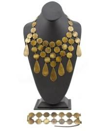 Celine Celine Bronzed Metal Coin Necklace and Bracelet