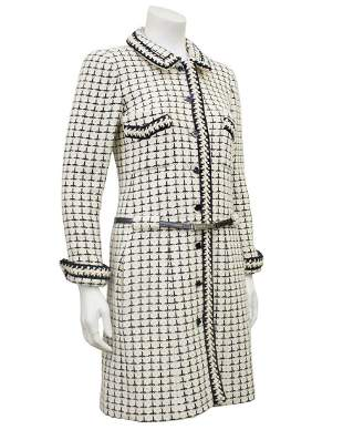 Chanel White and Black Boucle Long Jacket