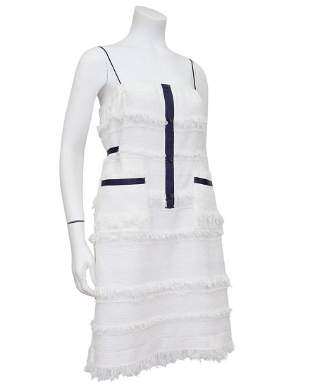 Chanel White Spring 2008 Runway Woven Wool Mini Dress