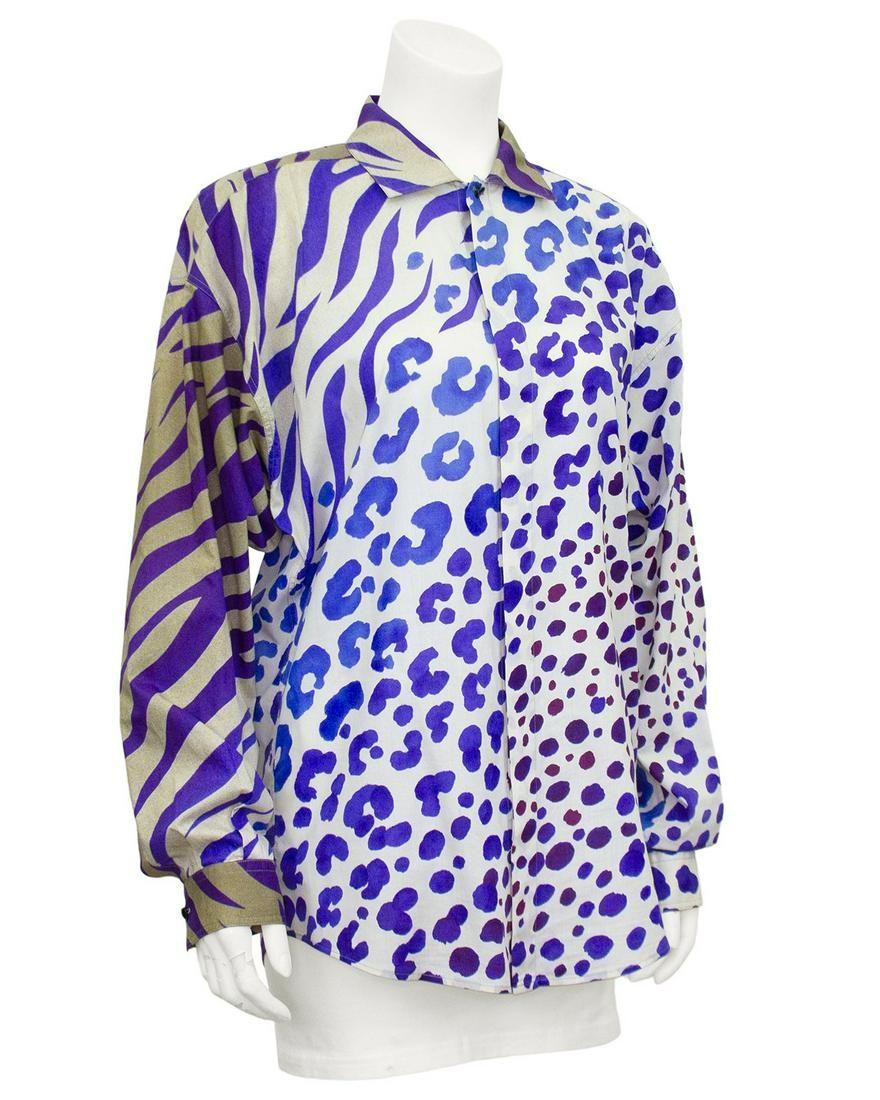 Versace Purple Zebra and Leopard Print Shirt