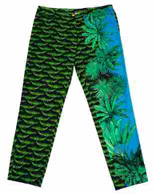 Versace Green and Blue Alligator and Palm Tree Print