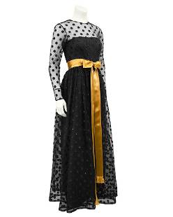 Anonymous Anonymous Black Long Sleeve Gown with Polka