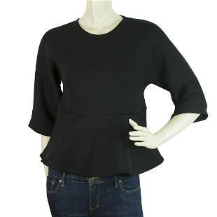McQ Black Ruffled Top Blouse 3/4 Sleeves Back Zipper
