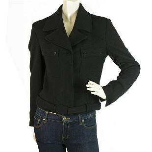 Fendi Black Single Brusted Belted Womans Logo Buttons
