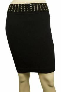 Black Elasticated Knit Mini Skirt w. Rivets at the