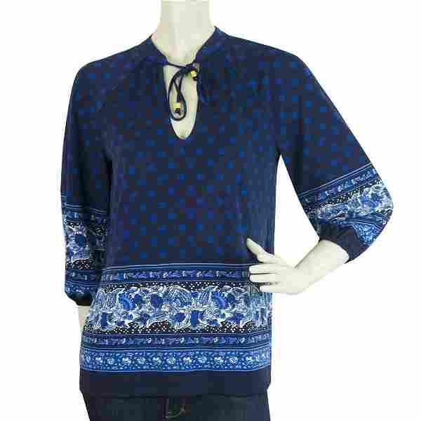 Michael Kors Blue Tie Neck 3/4 Sleeves Floral Tunic Top