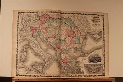 1864 Austria, Turkey, Greece Map