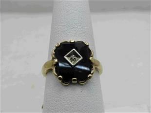 Vintage 10KT Black Onyx Art Deco Ring, Size 7.5, Signed