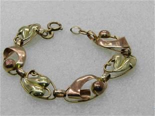 """Vintage 10kt Leaf & Mod Link Bracelet, Two-Tone, 7.25"""""""