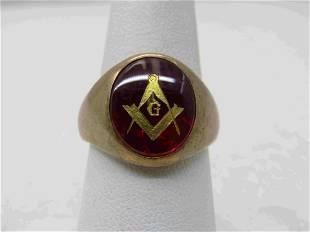 Vintage 10kt Lab Ruby Masonic Ring, Sz. 7.5, Oval