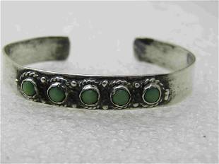 Vintage Sterling Mexican Turquoise Youth Cuff Bracelet