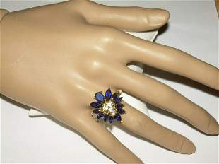 Sterling Blue Marquise Spinel Ring With 4 Clear CZ's -