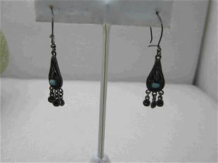 Vintage Southwestern Sterling Turquoise Earrings,