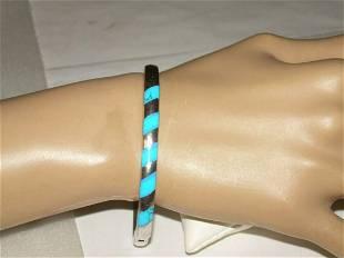 "Vintage Sterling Inlaid Turquoise Bracelet - 7"" Hinged"