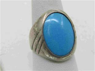 Vintage Southwestern Sterling Silver Turquoise Ring,